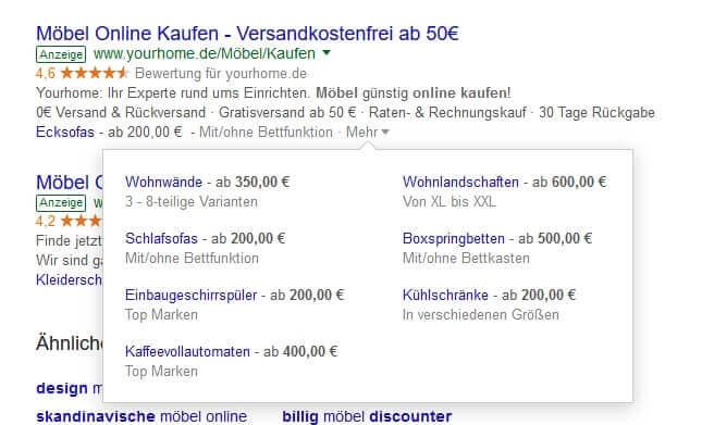 AdWords Preiserweiterung - Beispiel 1