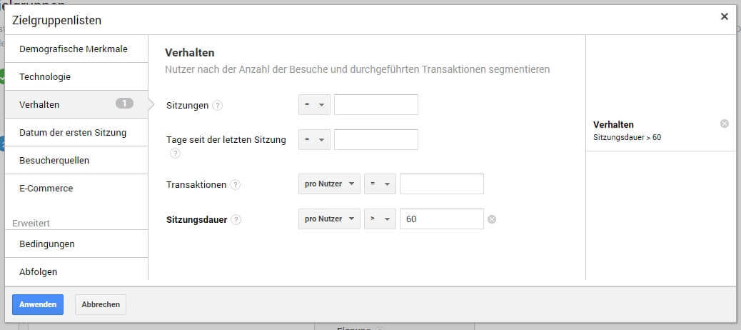 AdWords-Ideen: Analytics Remarketing auf aktive Nutzer Definition
