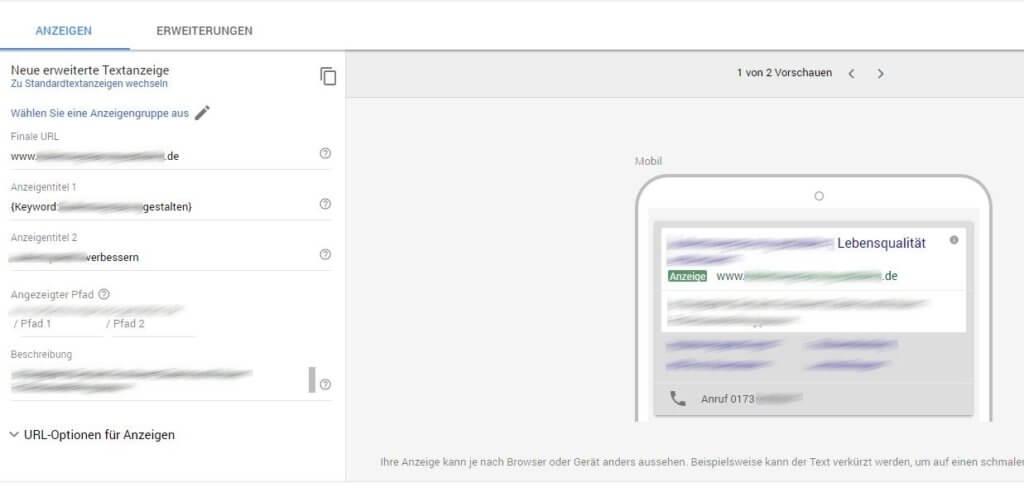Neues AdWords Design - Anzeige erstellen