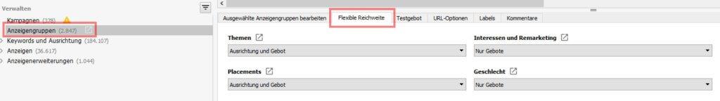 Ausrichtungseinstellungen im Adwords Editor prüfen
