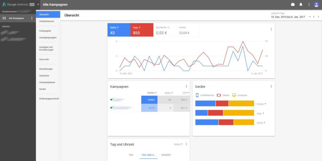 Neues AdWords Design - Dashboard