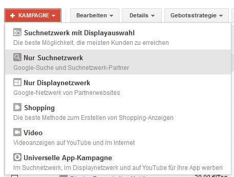 Erste AdWords Suchkampagne anlegen
