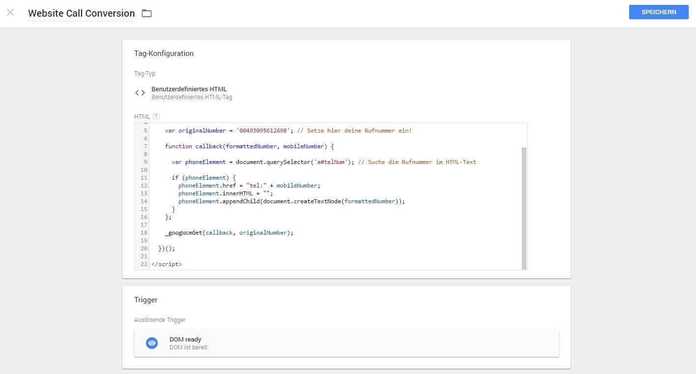 Google Website Call Conversion Tag Manager Skript DOM