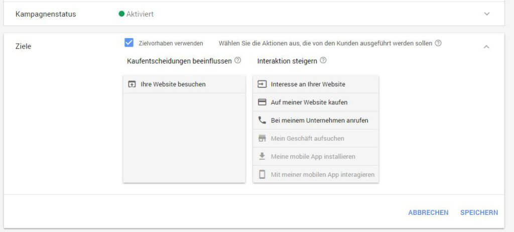 Neues AdWords Design - Kampagnenziele