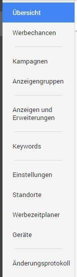 Neues AdWords Design - Navigation