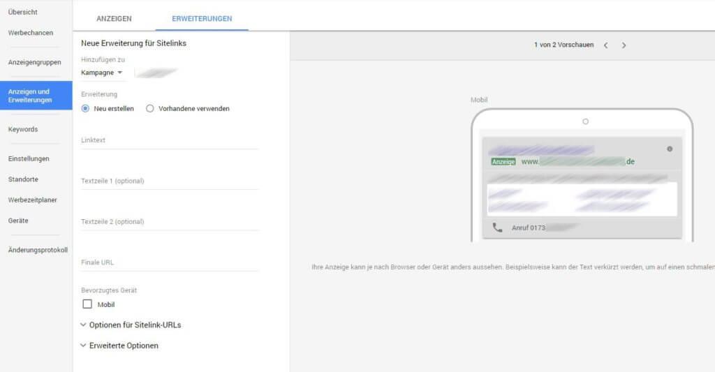Neues AdWords Design - Sitelink erstellen