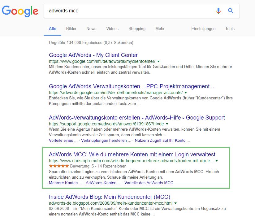 Google Bewertungssterne in organischer Suche SEO