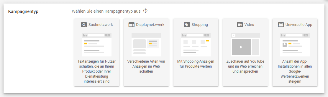 AdWords neue Shopping Kampagne anlegen