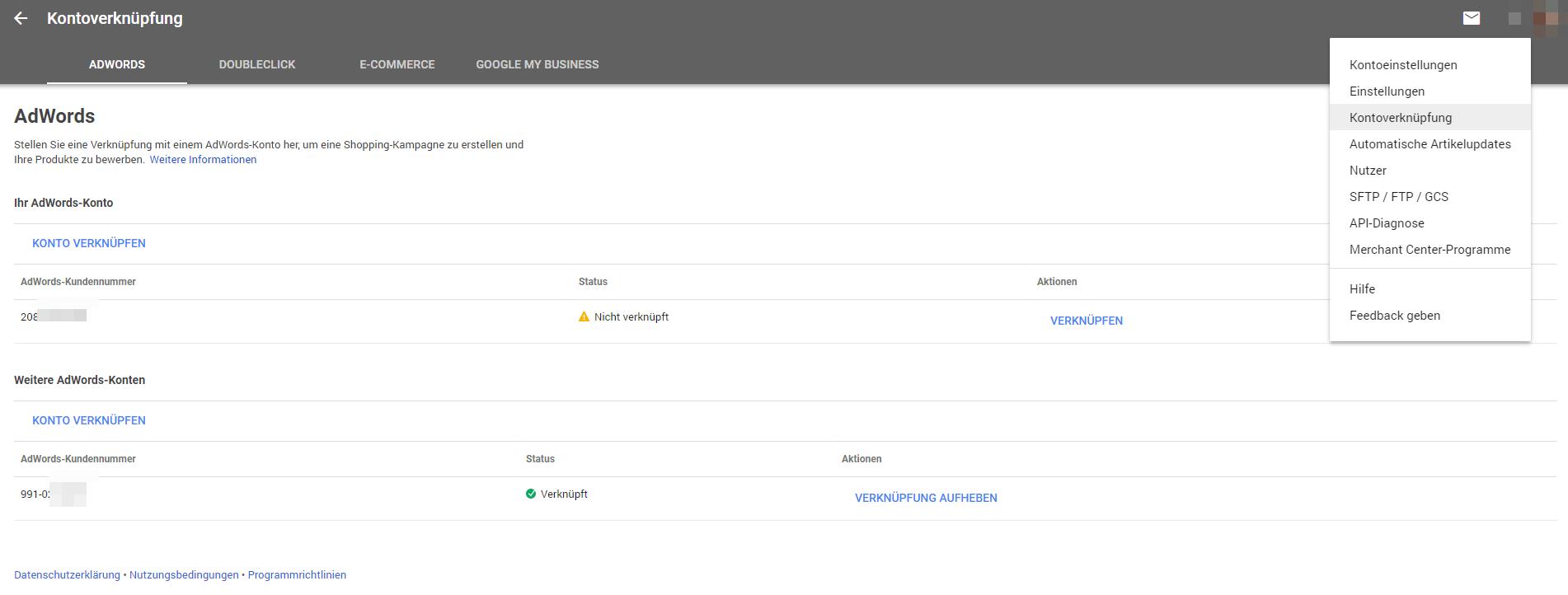 Google Merchant Center mit AdWords verknüpfen