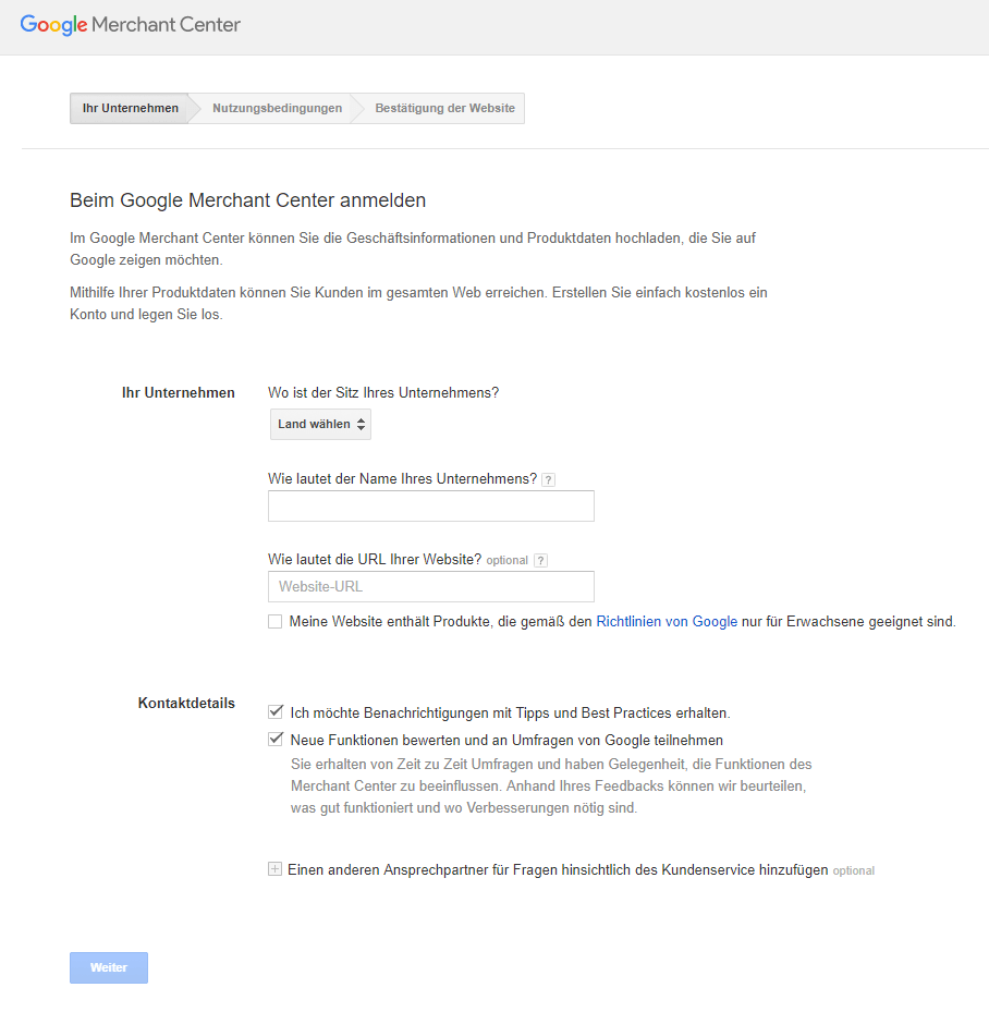 Google Shopping   Anmeldung im Merchant Center