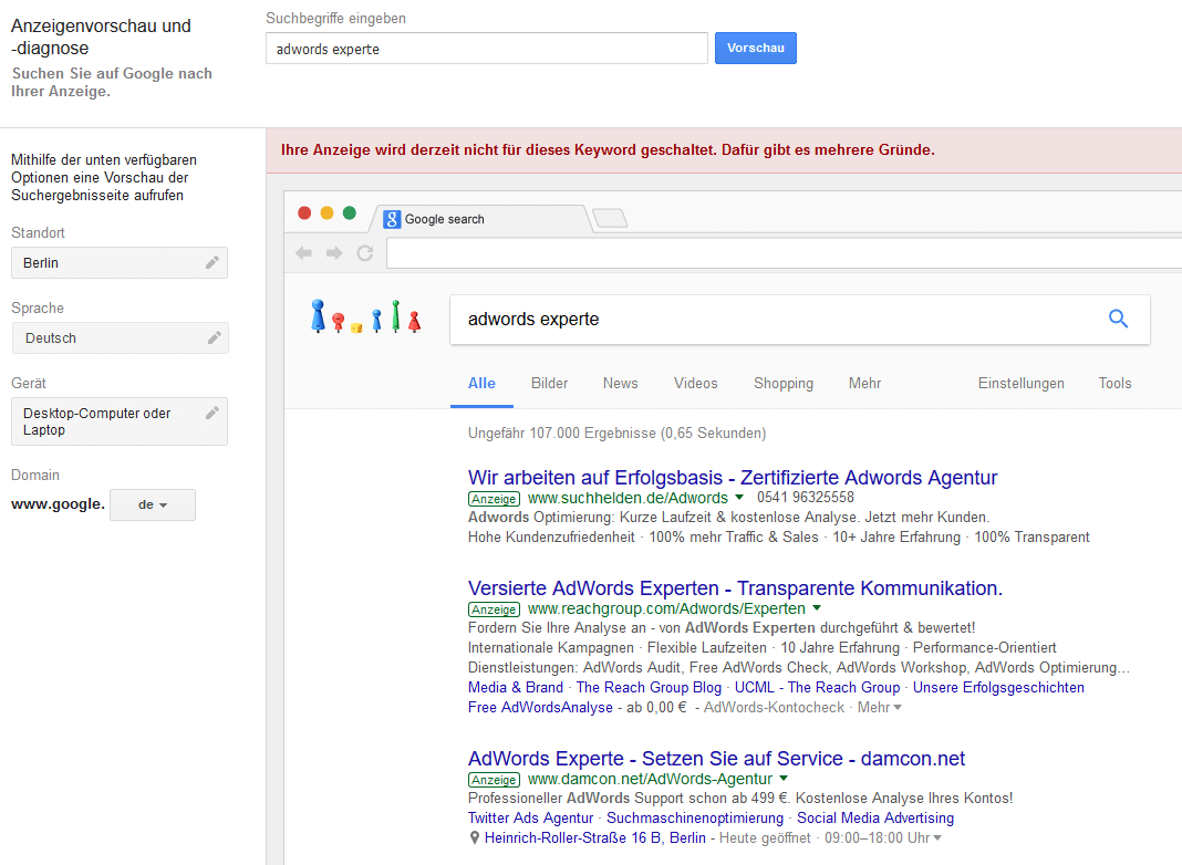 AdWords Tools   Ad Preview