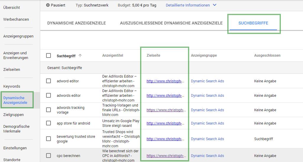 Dynamische Anzeigenziele   URLs auswerten