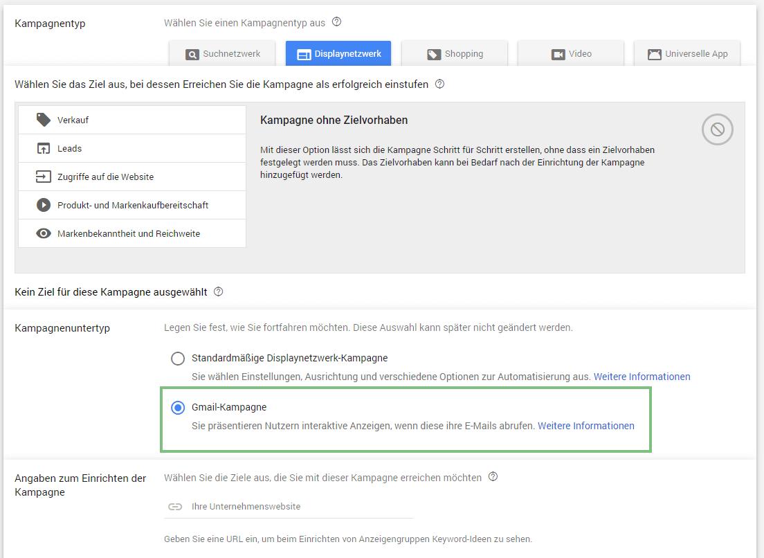 Gmail Kampagne anlegen