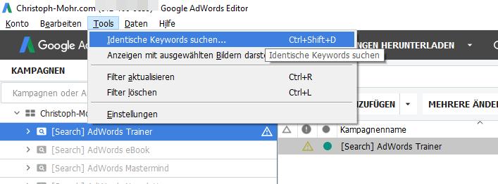 Identische Keywords suchen