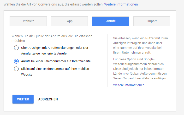 Website Call Conversion