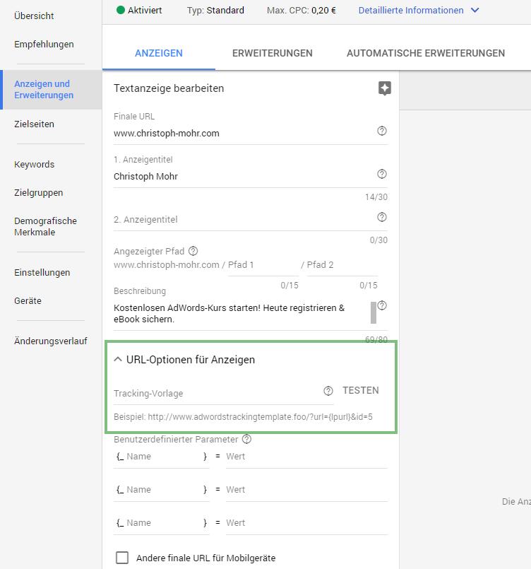 URL Optionen in der AdWords Anzeige