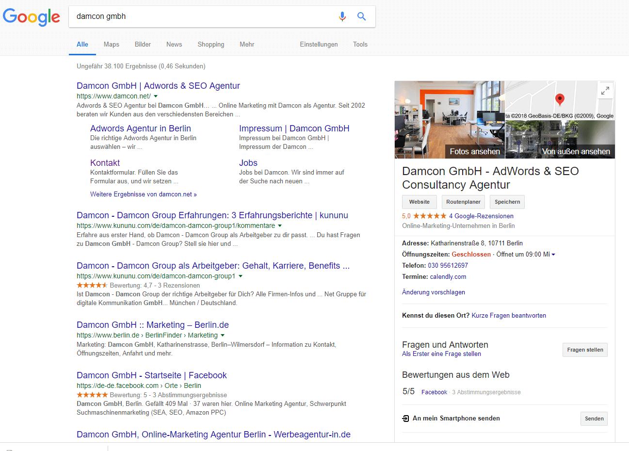 Google Maps Ergebnis Damcon GmbH