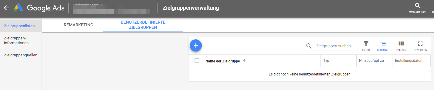 Google Ads Remarketing   benutzerdefinierte Zielgruppe