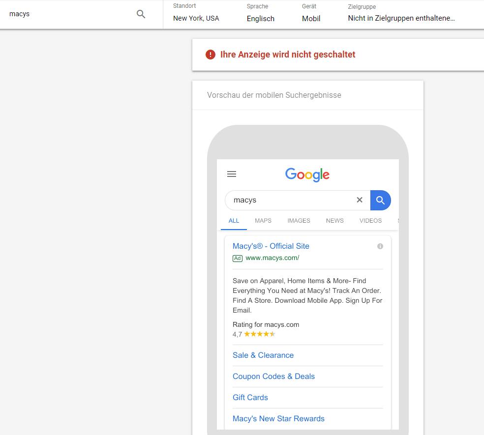 Google Ads Anzeigenvorschau