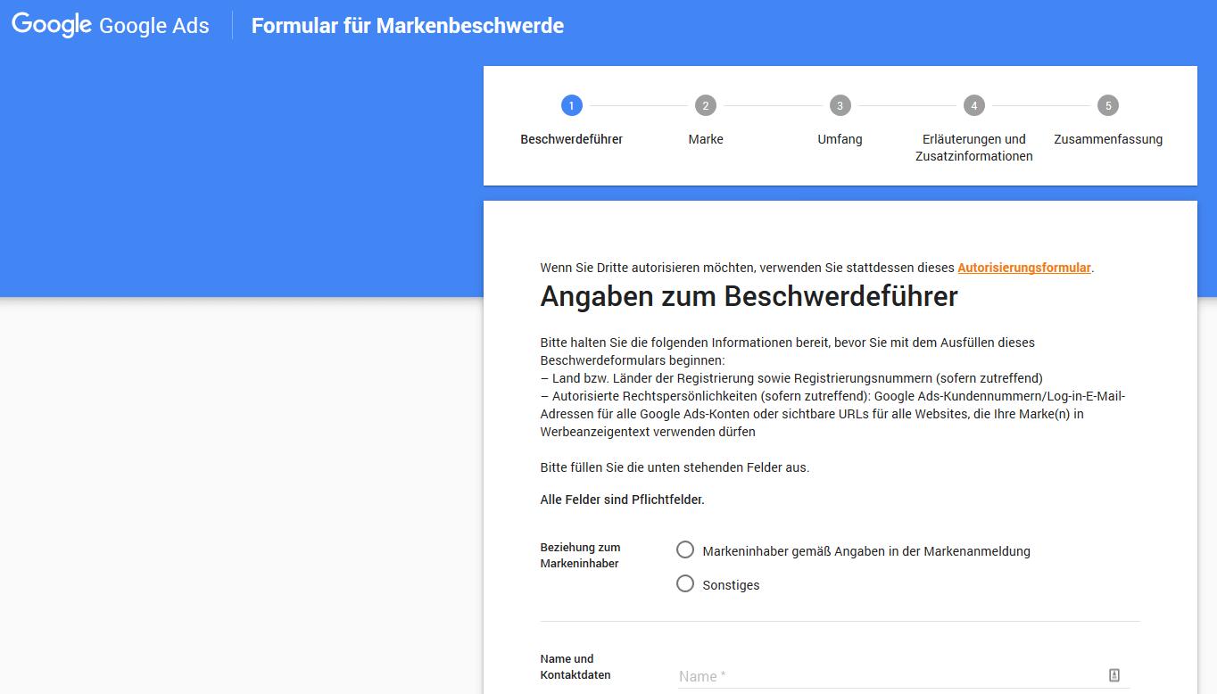 Google Formular fuer Markenbeschwerden