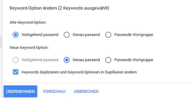 Google Ads Keyword Optionen duplizieren