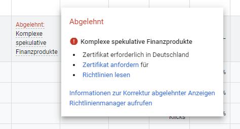 Google Ads Anzeigen Status Details