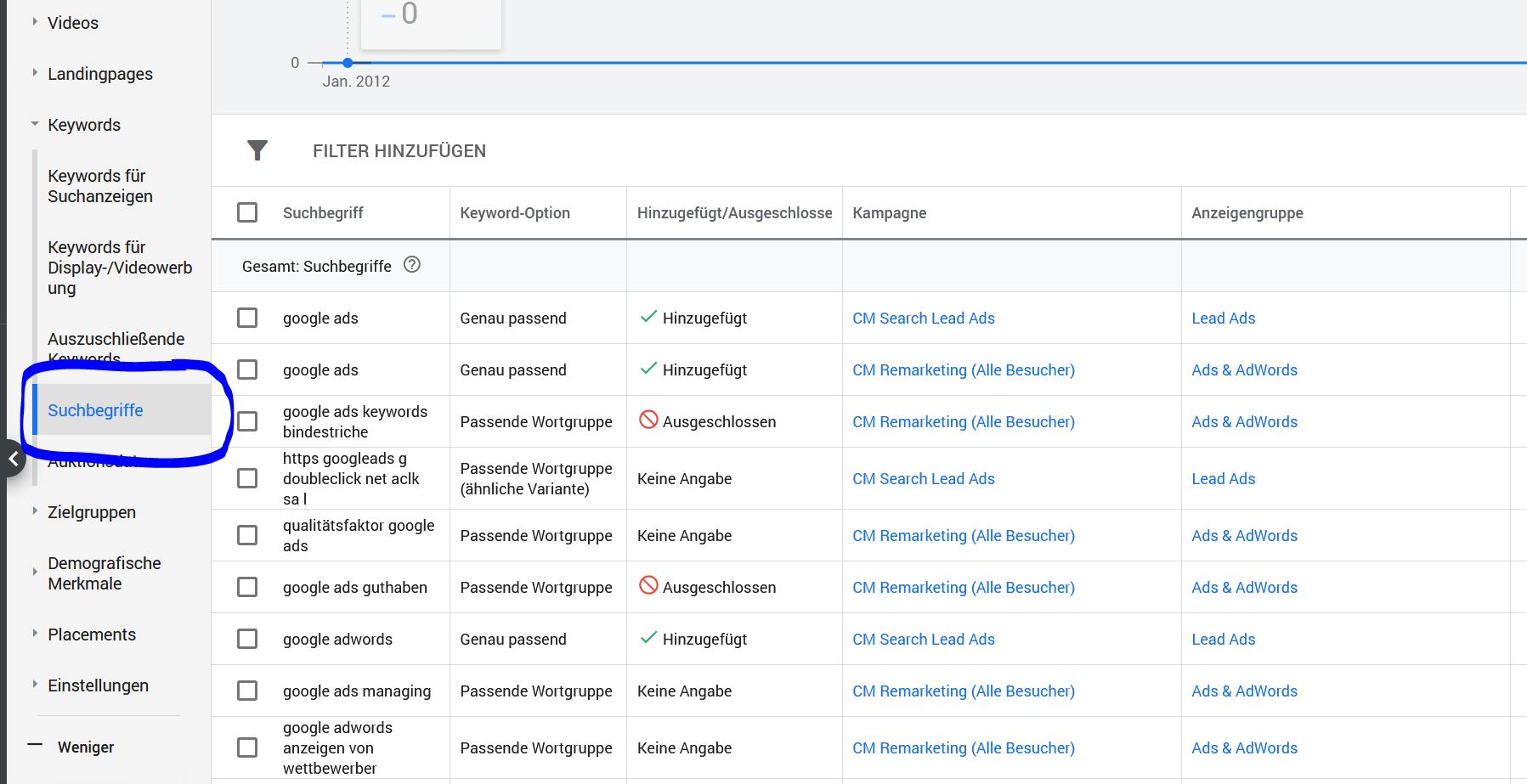 Google Ads Suchbegriffe