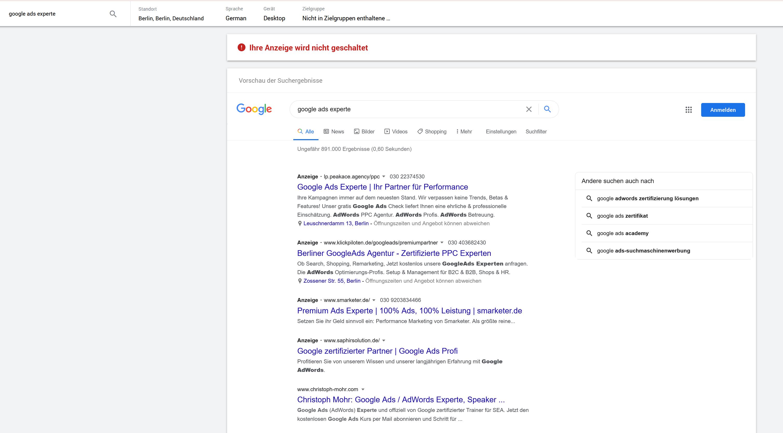 Google Ad Preview Anzeigenvorschau
