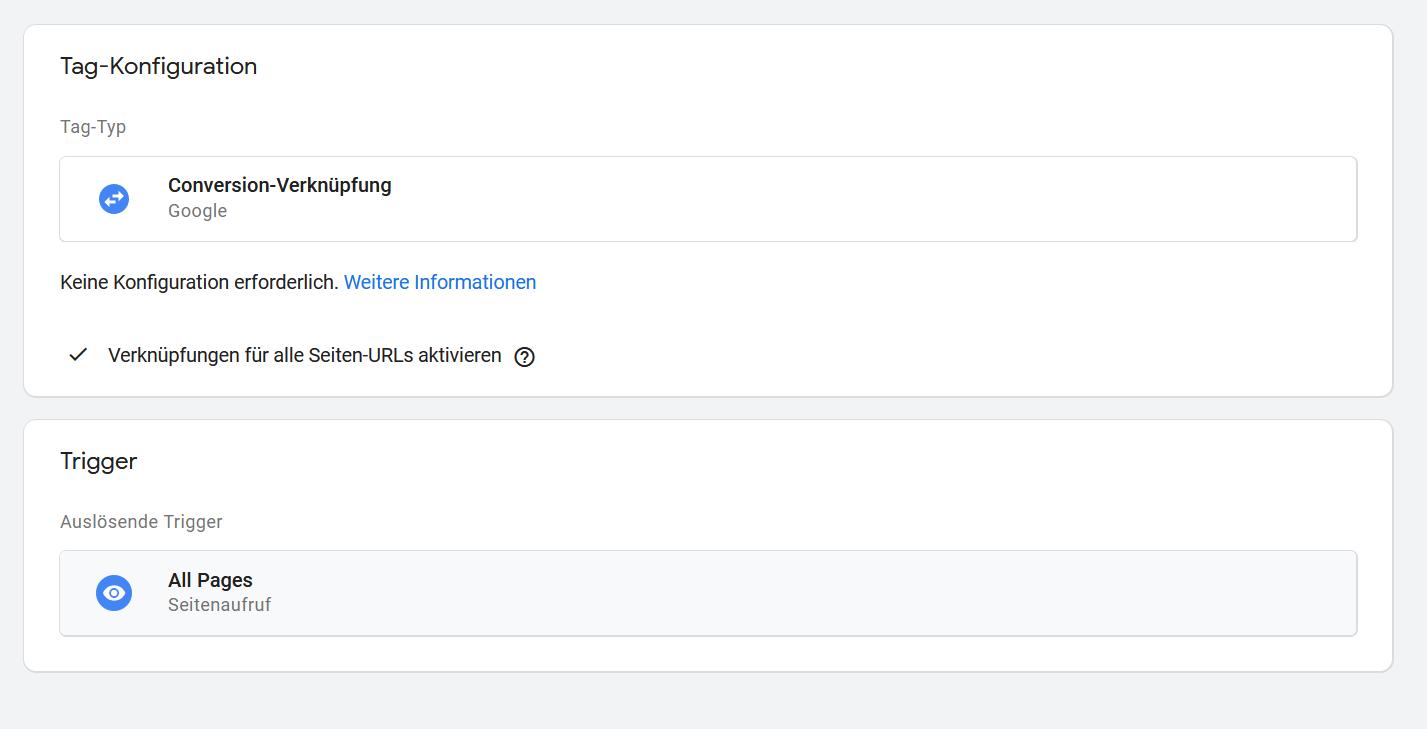 Google Tag Manager Conversion Verknuepfung alle Seiten