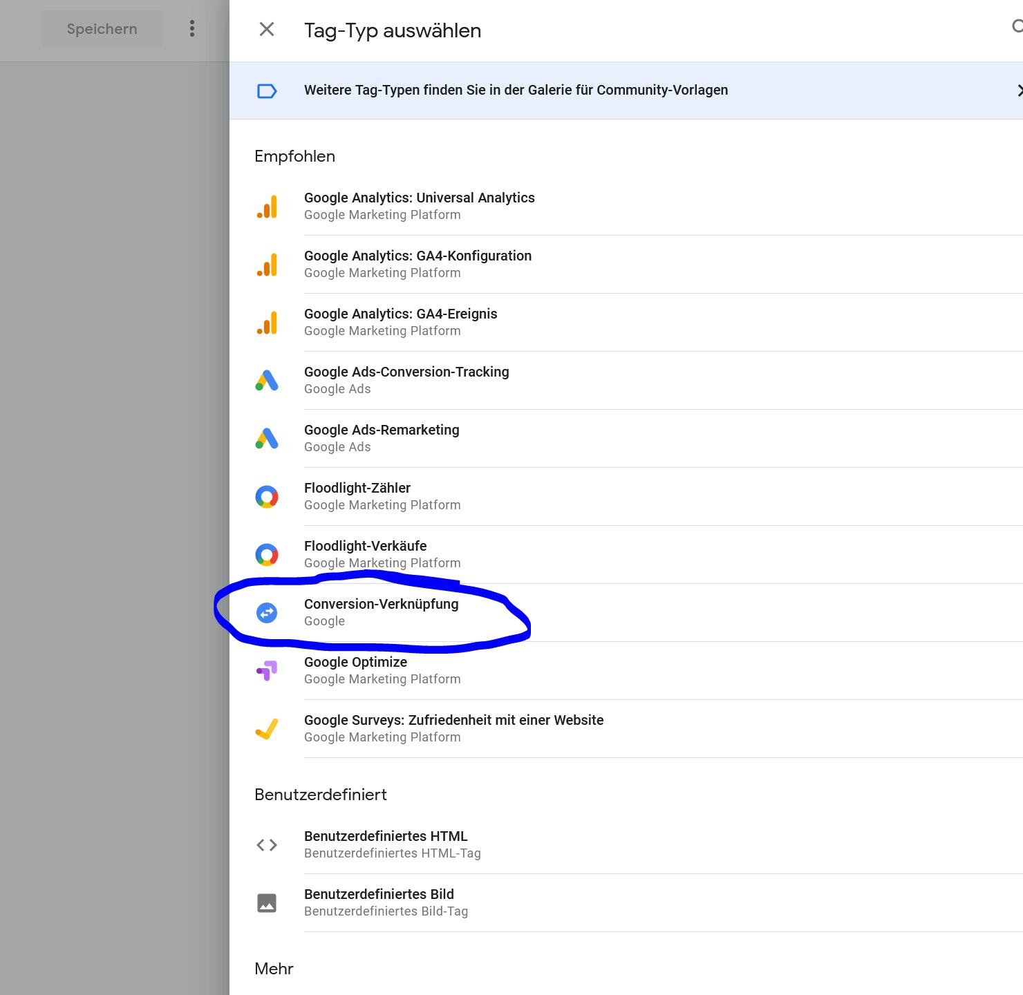 Google Tag Manager Conversion Verknuepfung
