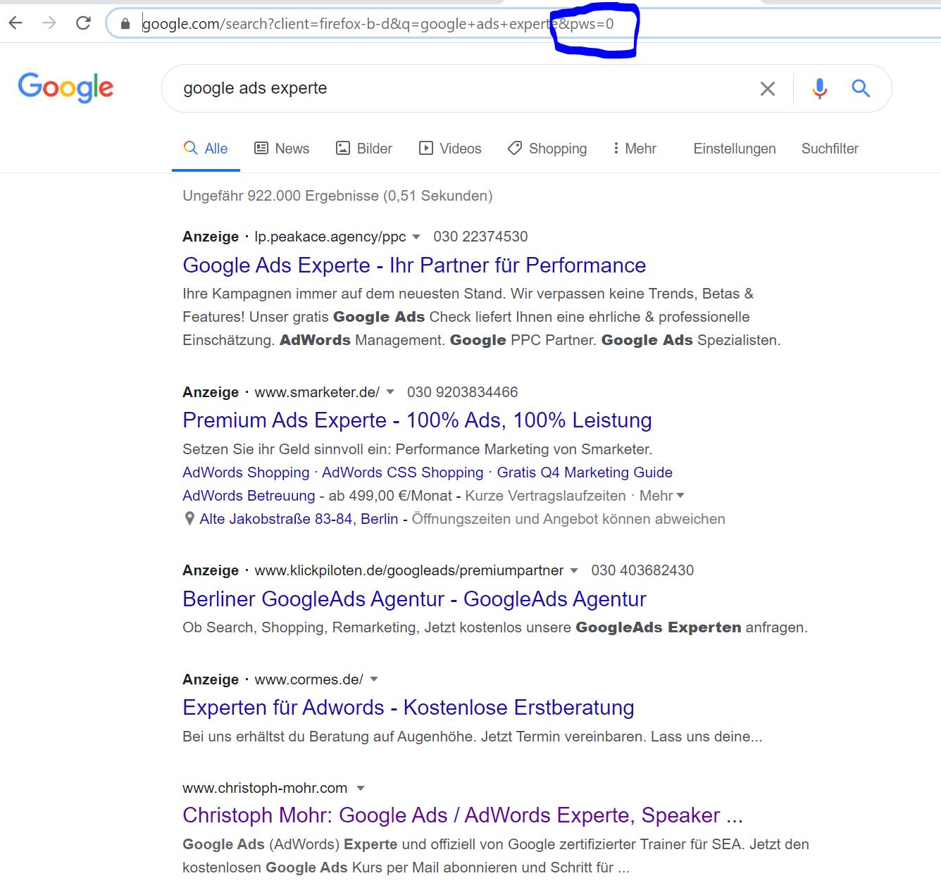 Google unpersonalisierte Suche