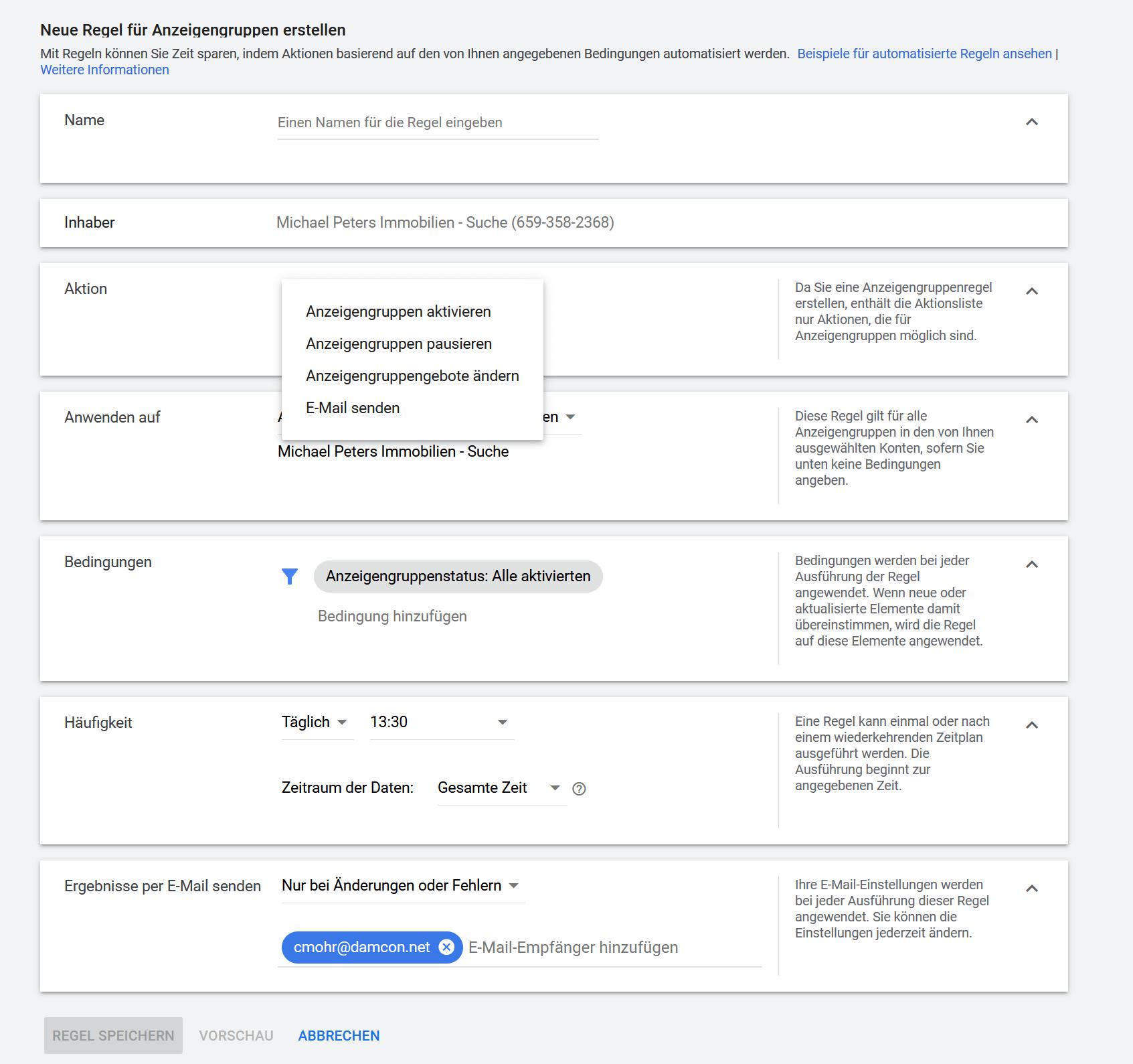 Google Ads Regel erstellen