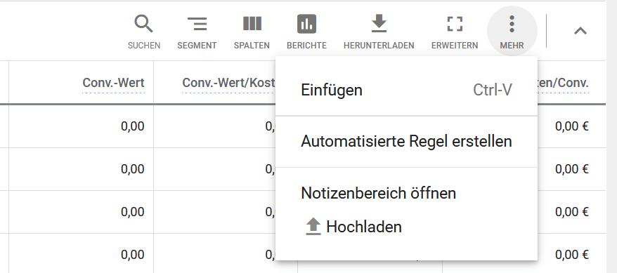 Google Ads automatisierte Regel