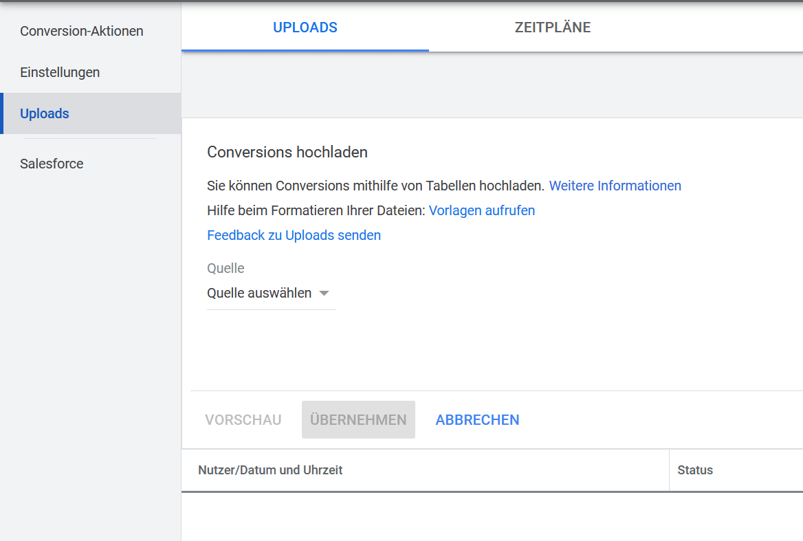 Offline Conversions hochladen