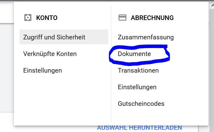 Google Ads Abrechnung Download