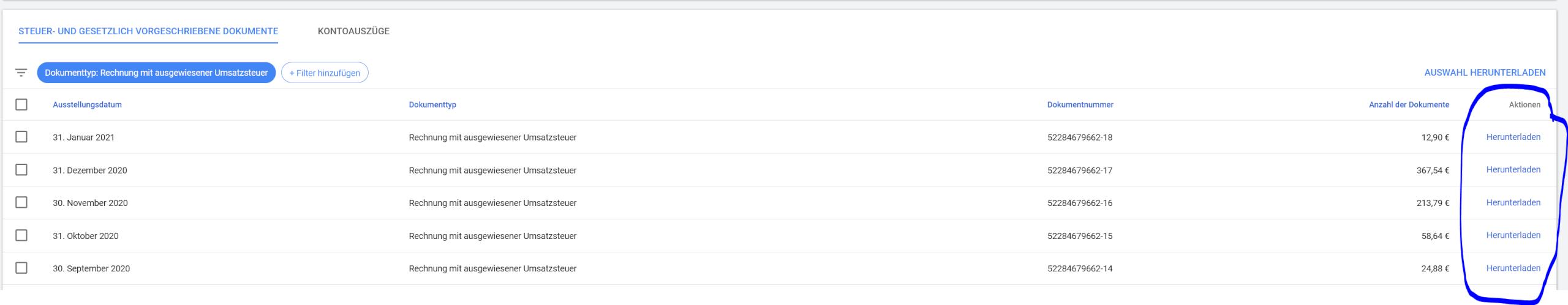 Google Ads Abrechnungen Uebersicht