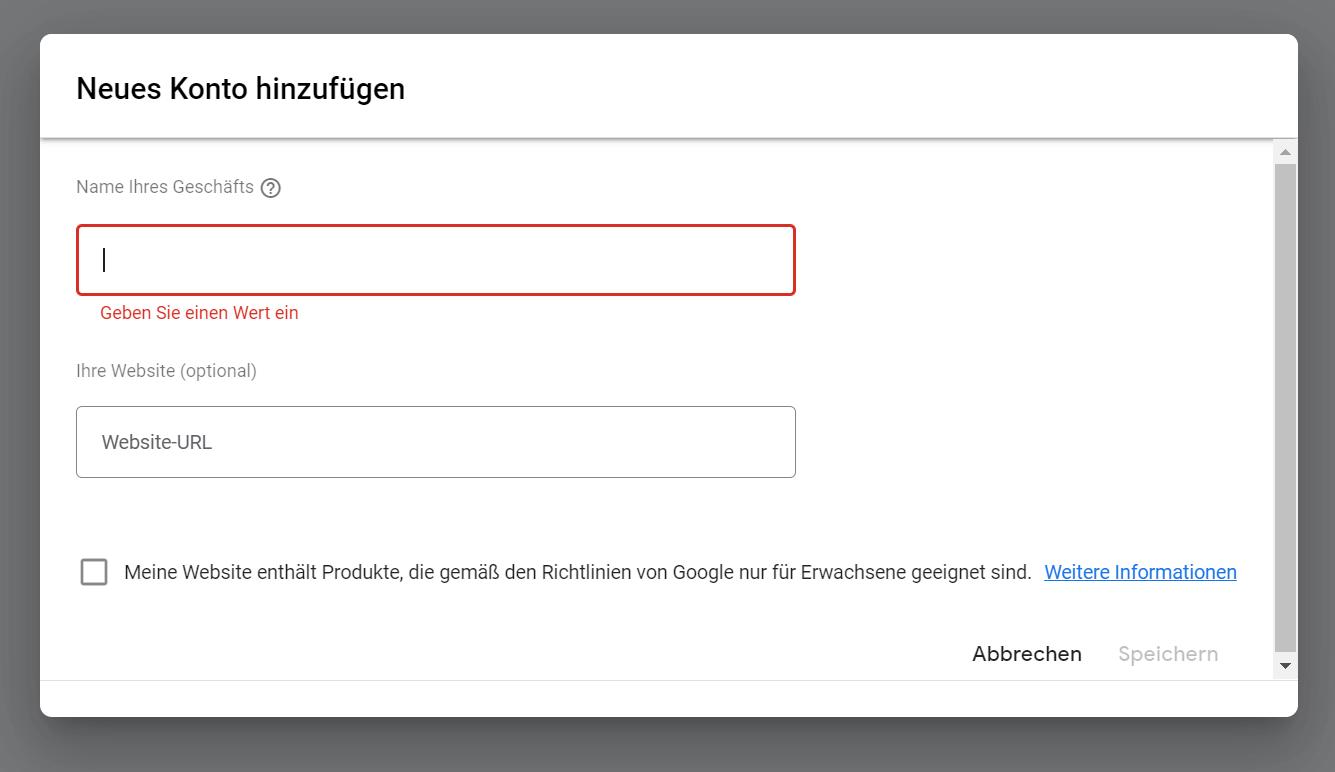 Google Merchant Center neu anlegen
