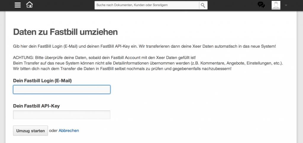 So einfach können Xeer Nutzer Ihre Daten zu FastBill übertragen