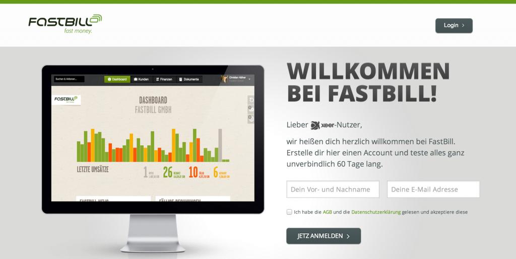 FastBill Landingpage für Xeer-Nutzer