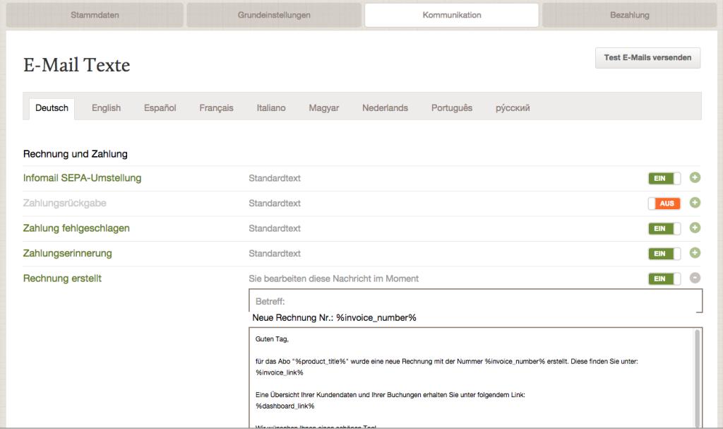 FastBill Automatic - Entscheide, welche E-Mails verschickt werden sollen
