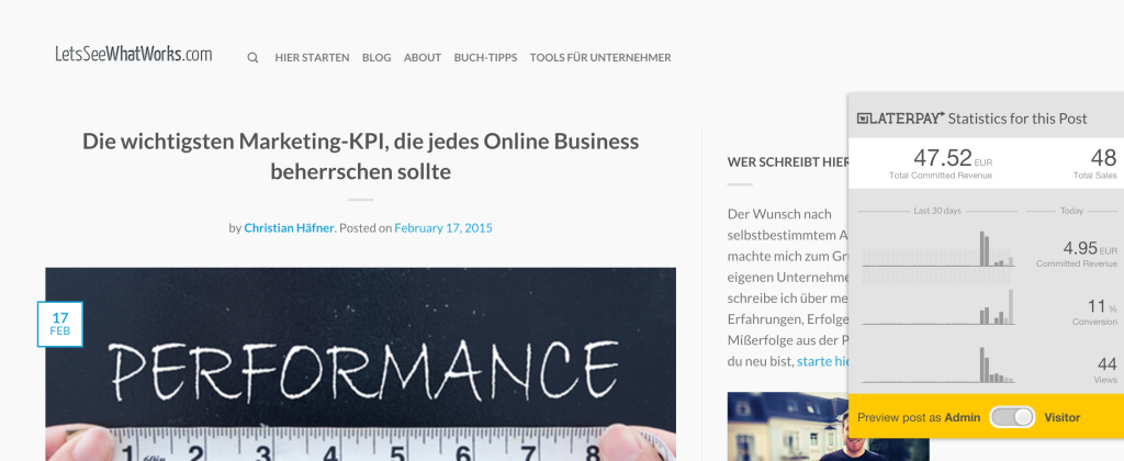 "Frontend Ansicht ""Marketing KPI"""
