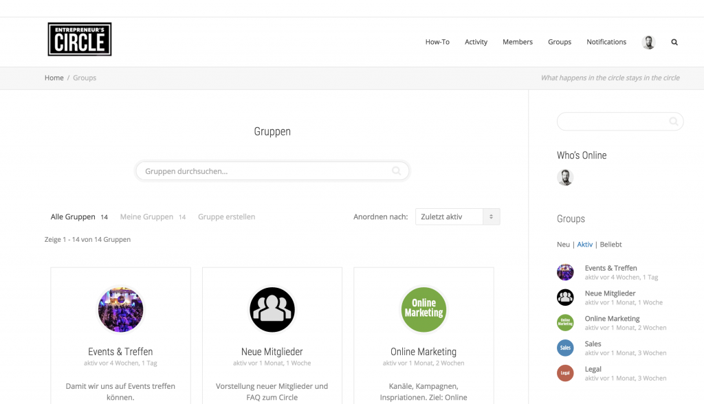 Screenshot aus der Community hinter entrepreneurscircle.de