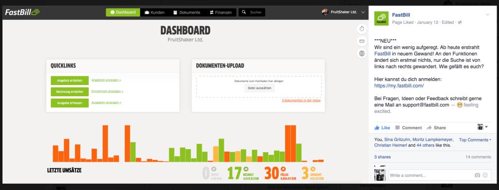 Das FastBill Design Update. Präsentiert Anfang Januar bei Facebook