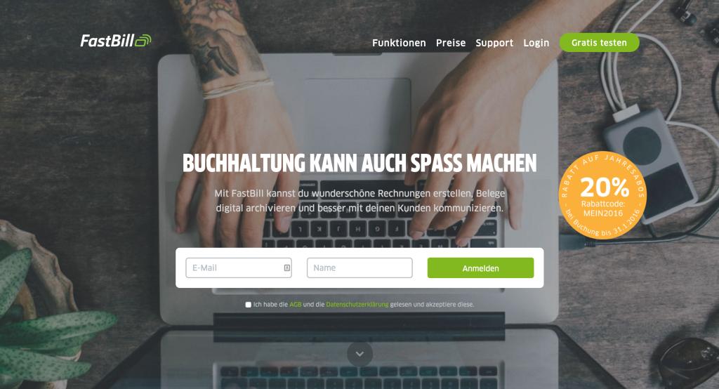 FastBill Website mit Hinweis auf Rabattaktion