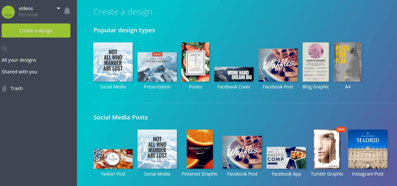 Screenshot Canva: Grafiken online erstellen