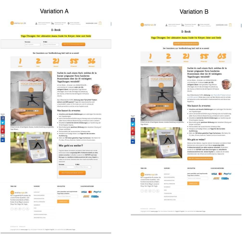 A/B Test der beiden Squeeze Page Variationen