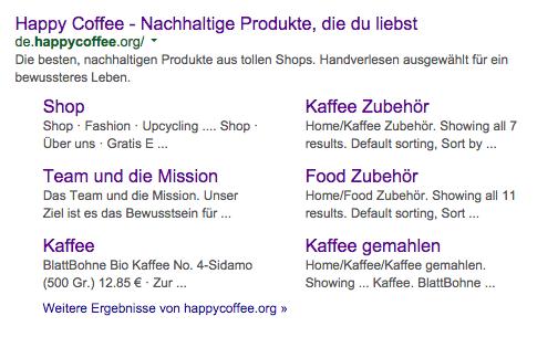 """Google Ergebnis bei einer Suche nach """"Happy Coffee"""""""