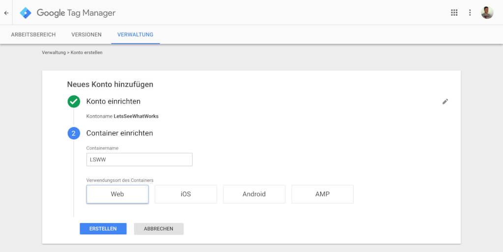 Google Tag Manager Container Einrichten 2