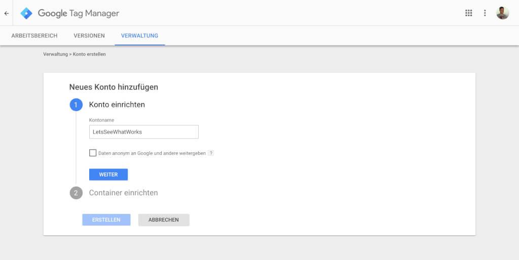 Google Tag Manager Einrichten 1