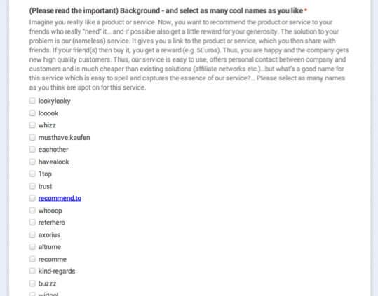 Das Brainstorming-Ergebnis: 48 Namen als Vorschlag